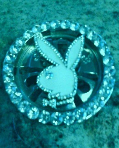 Silver Playboy Bunny White Enamel Rhinestone Spinner Circle Fashion Belt Buckle