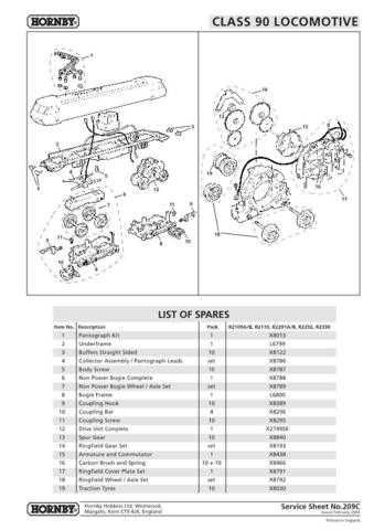Hornby No.209C Class 90 Service Sheets by download Mauritron #206904