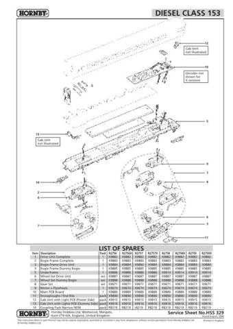 Hornby No.329 Class 153 Service Sheets by download Mauritron #207119