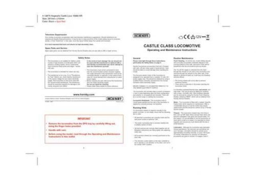 Hornby Hogwarts Castle Class Maintenance Sheets by download Mauritron #206749