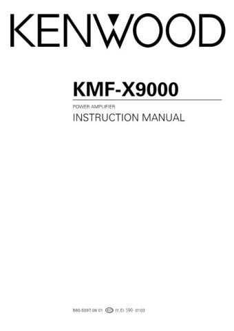 Kenwood KMF-X9000 Operating Guide by download Mauritron #219200