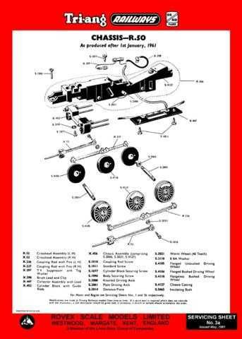 Triang Tri-ang No.003A Chassis R50 Service Sheets by download Mauritron #206194