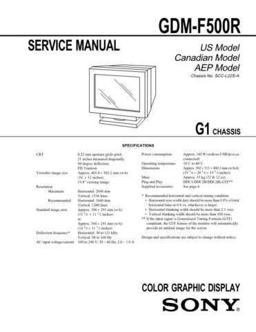 Sony GDM-F500R Service Manual by download Mauritron #240805