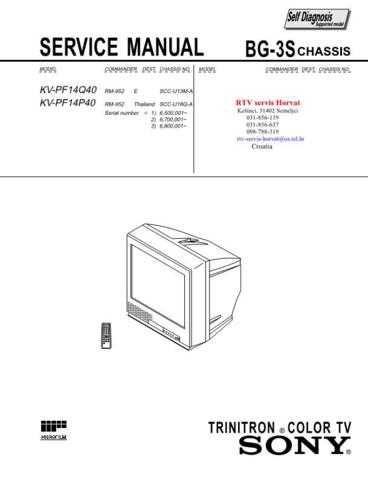 SONY KVPF14Q40 KVPF14P40 CHASSIS BG3S Technical Info by download #104795