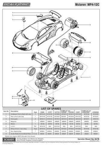 Scalextrix No.467B McLaren MP4 Service Sheets by download Mauritron #206648
