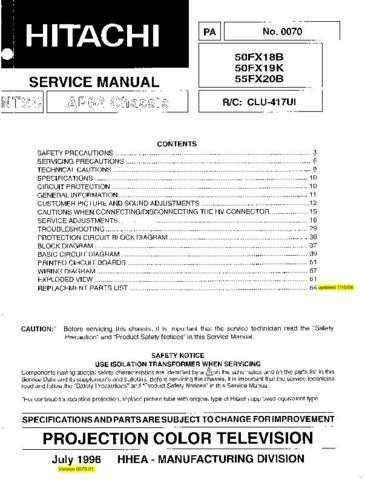 Hitachi 50FX19K Service Manual Schematics by download Mauritron #205821