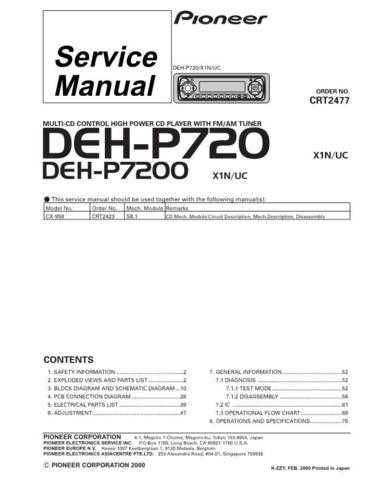 Pioneer DEH-P7200 Technical Manual by download Mauritron #232504