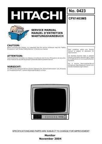 Hitachi CPX300 Service Manual by download Mauritron #261061