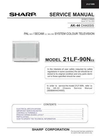 Sharp 21LF90N Service Manual by download Mauritron #207462