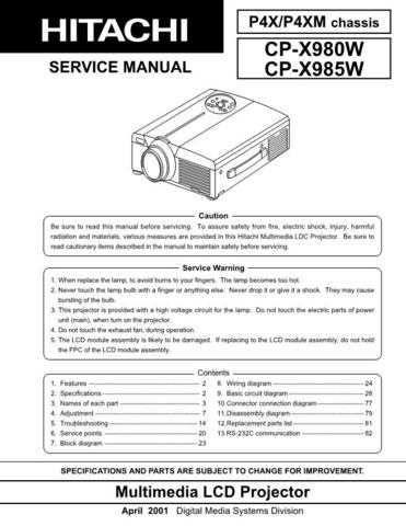 Hitachi CPX985W Service Manual Schematics by download Mauritron #205933