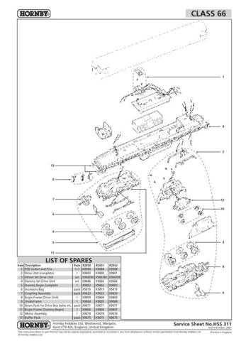 Hornby No.311 Class 66 Service Sheets by download Mauritron #207103