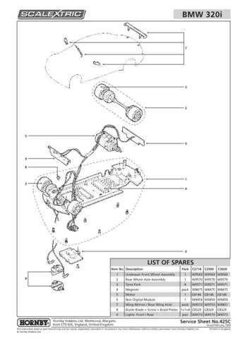 Scalextrix No.425C BMW 320i Service Sheets by download Mauritron #206593