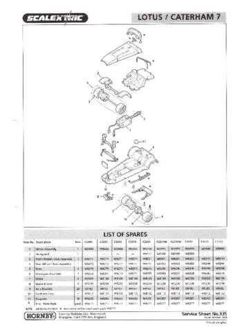 Scalextrix No.335 Lotus 7 and Caterham Service Sheets by download Mauritron #2