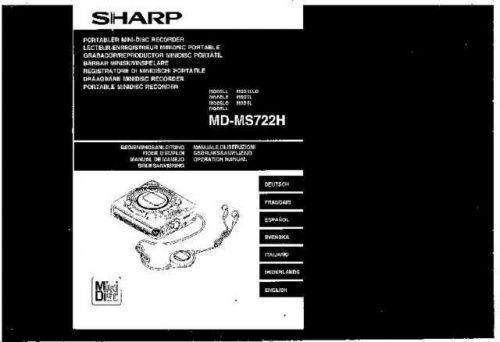 Sharp MDMS722H OM GB-DE-FR-ES-IT-SE-NL(1) Service Manual by download Mauritron