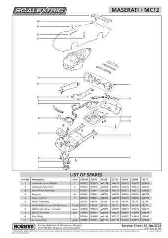 Scalextrix No.372E Maserati MC12 Service Sheets by download Mauritron #206509