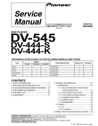 Pioneer DV-444-K-2 Service Manual by download Mauritron #234259