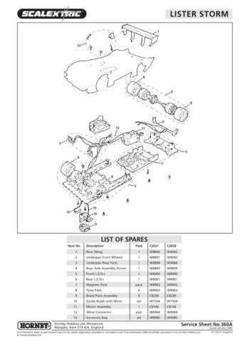 Scalextrix No.360A Lister Storm Service Sheets by download Mauritron #206484