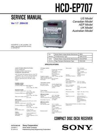 Sony HCD-EP515 Service Manual by download Mauritron #240979