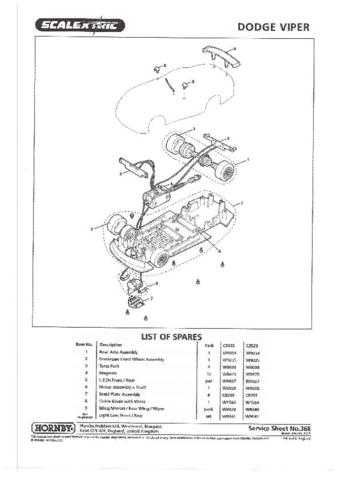Scalextrix No.368 Dodge Viper Service Sheets by download Mauritron #206498