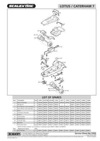 Scalextrix No.335D Lotus 7 And Caterham Service Sheets by download Mauritron #2