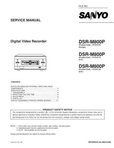 Fisher Service Manual For DSR-M800P by download Mauritron #217090