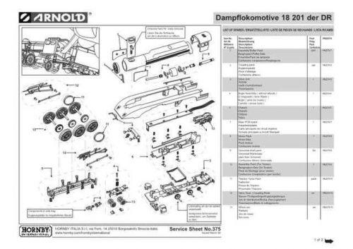 Arnold No.375 Dampflokomotive 18 201 der DR HN2074 Information by download Maur