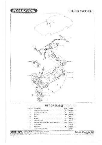 Scalextrix No.386 Ford Escort Service Sheets by download Mauritron #206537