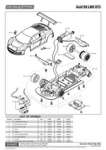 Scalextrix No.455 Audi R8 LMS GT3 Service Sheets by download Mauritron #206632