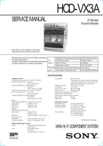 SONY HCD-W550 Technical by download #104975