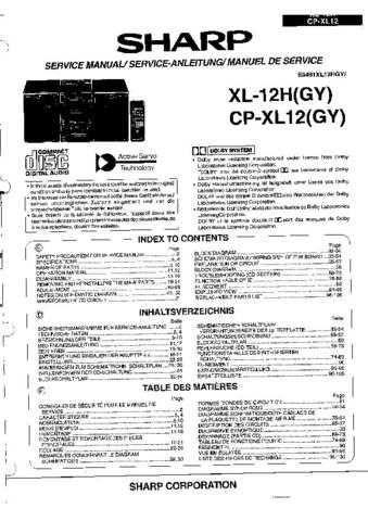 Sharp XL12H-CPXL12 -DE-FR Service Manual by download Mauritron #207679