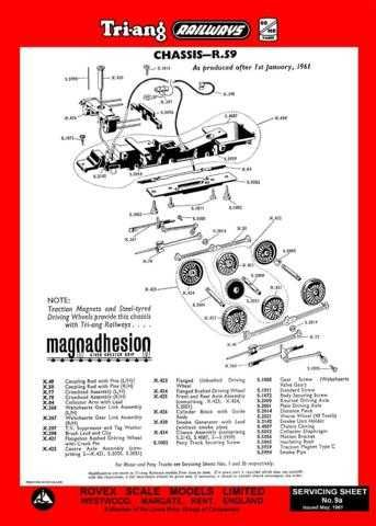 Triang Tri-ang No.009A Chassis R59 Service Sheets by download Mauritron #206205