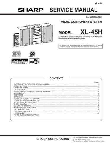 Sharp XL45H (1) Service Manual by download Mauritron #207702