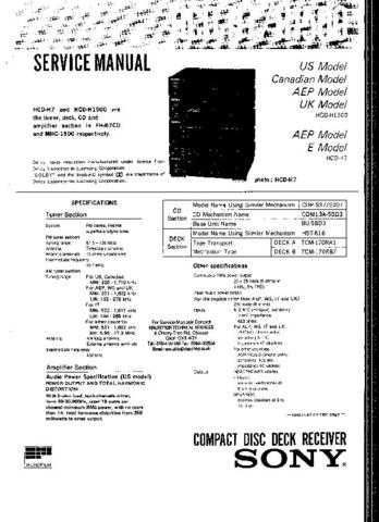 SONY MHC1500 AUDIO SERVICE MANUAL (26971) Technical Info by download #104818