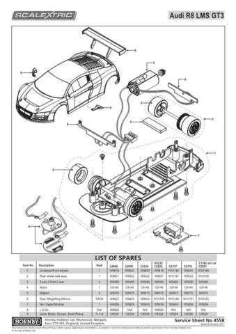 Scalextrix No.455B Audi R8 LMS GT3 Service Sheets by download Mauritron #206633