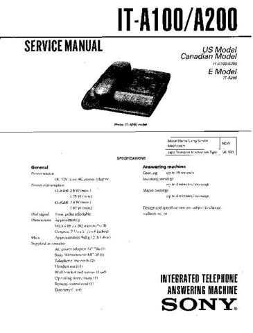 Sony IT-A100-A200 Service Manual. by download Mauritron #241681