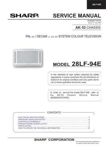 Sharp 28LF94E (1) Service Manual by download Mauritron #207575