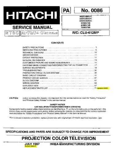Hitachi 50SBX70B Service Manual Schematics by download Mauritron #205831