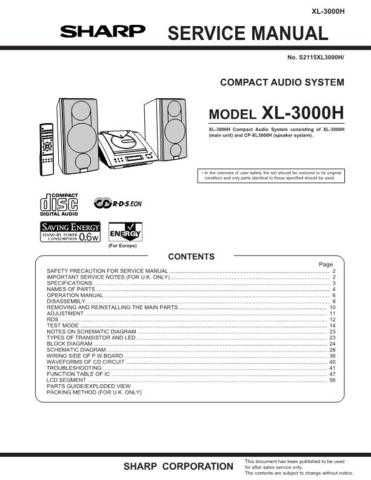 Sharp XL3000H Service Manual by download Mauritron #207687