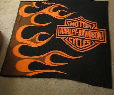 Preowned HARLEY DAVIDSON FLEECE BLANKET THROW LICENSED SIDE BURNER Awesome