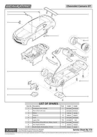 Scalextrix No.478 Chevrolet Camaro GTR Flat Service Sheets by download Mauritro