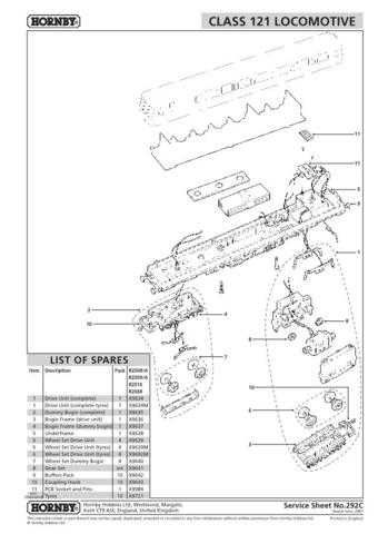 Hornby No.292C Class 121 Service Sheets by download Mauritron #207080
