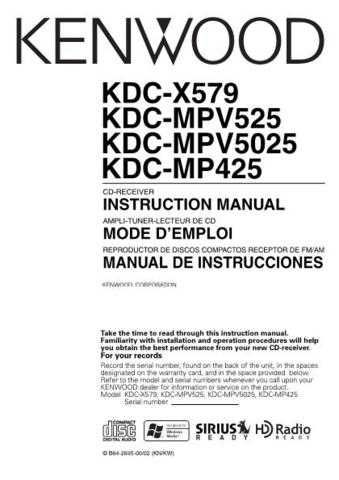 Kenwood KDC-MP5028 Operating Guide by download Mauritron #222032