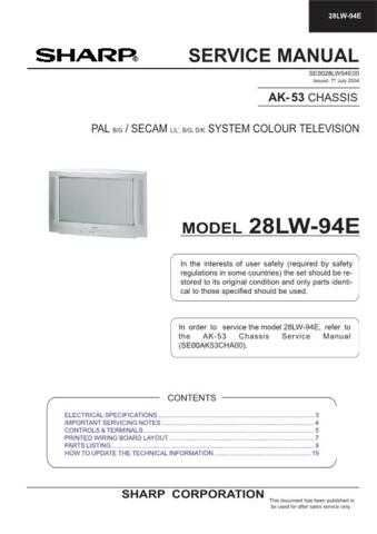 Sharp 28LW94E (1) Service Manual by download Mauritron #207591
