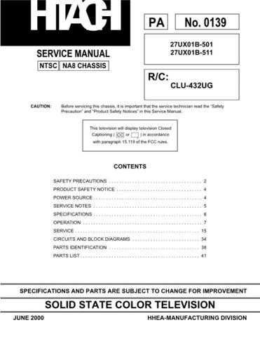 Hitachi 27UX01B Service Manual Schematics by download Mauritron #205732