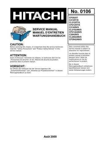 Hitachi C2842N-S English Service Manual by download Mauritron #230603