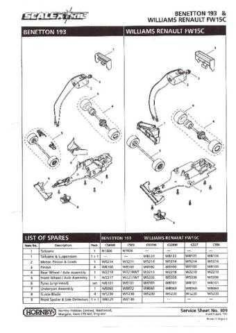 Scalextrix No.309 Benetton 193 and Williams Renault FW15C Service Sheets by dow