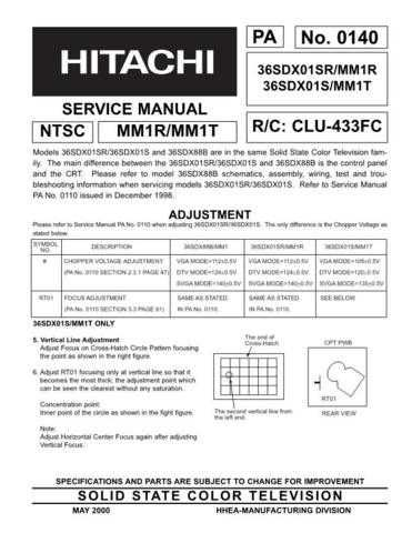 Hitachi 36SDX01S Service Manual by download Mauritron #207223