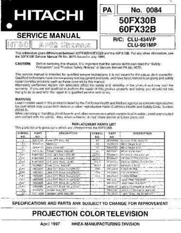 Hitachi 50FX30B Service Manual Schematics by download Mauritron #205822