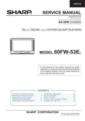 Sharp 60FW53E-EE Service Manual by download Mauritron #207870