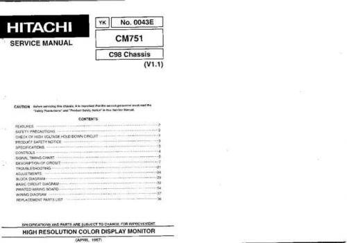 Hitachi CM751 Service Manual Schematics by download Mauritron #205879